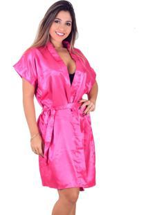 Robe Vip Lingerie Acetinado Rosa - Kanui