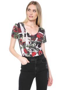 Camiseta Forum Floral Vermelha/Verde