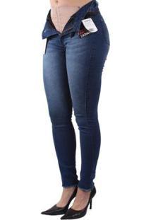 Calça Dioxes Jeans Com Cinta Modeladora Feminina - Feminino-Azul