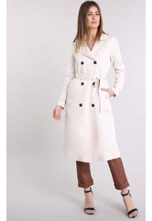 Casaco Feminino Trench Coat Com Faixa Para Amarrar Bege Claro