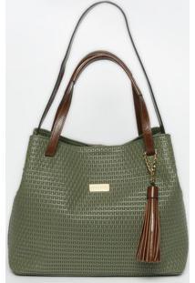 Bolsa Em Couro Texturizada- Verde Escuro & Marrom- 2Griffazzi