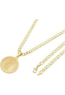 Pingente Nossa Senhora De Lurdes Tudo Joias Com Corrente Grumet Folheada A Ouro 18K - Unissex-Dourado