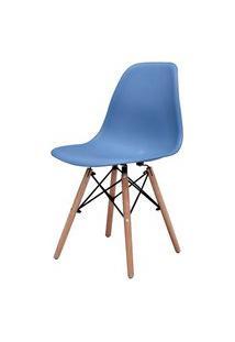 Cadeira Eames Eiffel Polipropileno Azul Bali Base Madeira - 44157 Azul