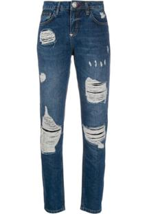Philipp Plein Calça Jeans Slim Cintura Média - Azul