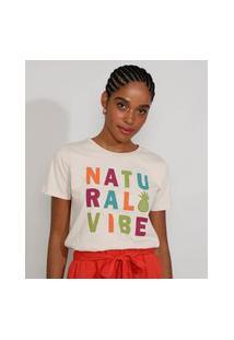 "Camiseta Feminina Manga Curta Natural Vibe"" Decote Redondo Bege Claro"""