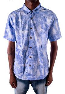 Camisa Outletdri Slim Manga Curta Florido Floral Azul Claro
