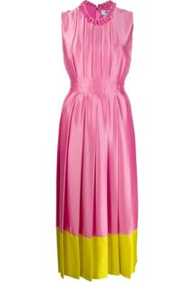 Msgm Vestido Midi De Cetim Com Acabamento Contrastante - Rosa