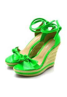 Sandália Anabela Salto Alto Com Laço Em Napa Neon Verde