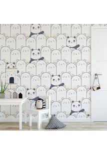 Papel De Parede Stickdecor Adesivo Pandas Cinza