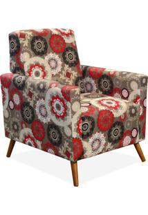 Poltrona Decorativa Lymdecor Liz Floral Vermelho