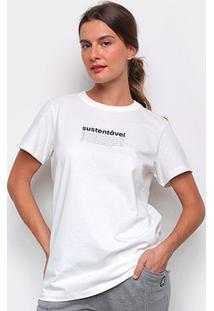 Camiseta Colcci Sustentável Feminina - Feminino-Off White
