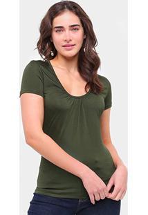 Blusas Colcci Pregas Feminina - Feminino-Verde