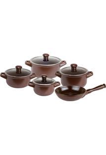 Conjunto De Panelas 5 Peças Cerâmica Chocolate Ceraflame
