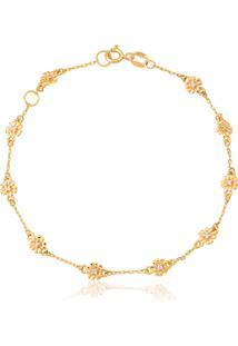 Pulseira De Ouro 18K Flores Com Diamantes-Coleção Jardim Secreto