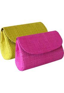 Combo Com 2 Micro Clutches Artestore Palha De Buriti Pink E Amarela