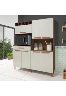 Cozinha Compacta Mirela 7 Pt 1 Gv Noce E Off White