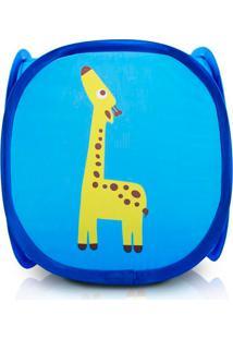 Cesto Organizador Tecido Para Brinquedos Infantil Jacki Design Dobrável Pequeno Azul