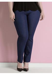 Calça Jeans Skinny Azul Cintura Alta Plus Size