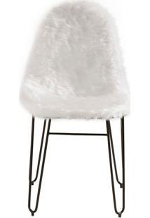 Cadeira Invisi Pele Sintetica Branca Base Preta 45 Cm (Larg) - 41423 - Sun House