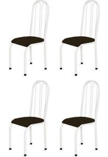 Kit 4 Cadeiras Altas 0.112 Anatômica Branco/Tabaco - Marcheli
