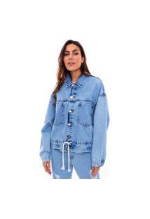 Jaqueta Jeans Oversized Feminino Lavagem Clara Estonada Jeans