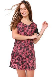 Vestido Redley Curto Hawaii Preto/Rosa