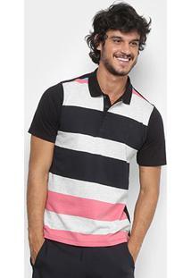 Camisa Polo Hurley Atorm Masculina - Masculino-Preto+Rosa