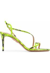 Aquazzura Sandália Com Estampa De Pele De Cobra - Verde