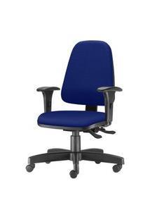 Cadeira Sky Presidente Com Bracos Curvados Assento Courino Azul Base Metalica Preta - 54804 Azul