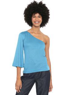 Blusa Cantão Ombro Único Azul