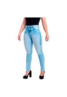 Calça Jeans Feminina Skinny Trama Cetim Com Elastano Cintura Alta Marmorizado Sky Azul Claro