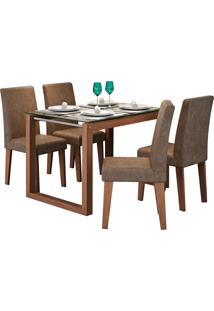 Conjunto De Mesa Anita Para Sala De Jantar Com E 4 Cadeiras Milena -Cimol - Savana / Cacau