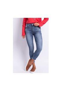 Calça Jeans Cigarrete Feminina Lavagem Clara Estonada Jeans