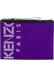 Kenzo Clutch Com Estampa De Logo - Roxo