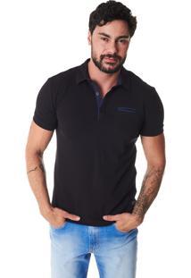 Camisa Polo Convicto Bolso Embutido Preto