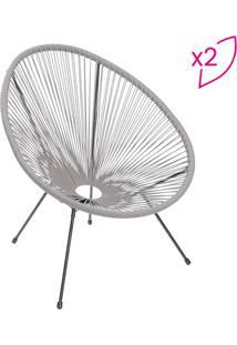 Jogo De Cadeiras Trançadas- Cinza & Preto- 2Pçs-Or Design