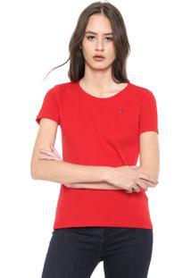 Blusa Tommy Hilfiger Im Cody Round-Nk Top Ss Vermelha