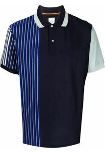 Paul Smith Camisa Polo Com Listras Color Block - Azul