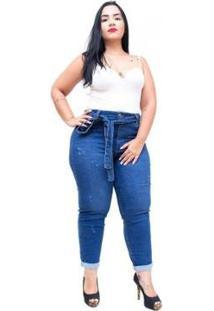 Calça Jeans Cambos Plus Size Skinny Cropped Crystiane Feminina - Feminino-Azul
