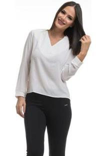 Camisa Clara Arruda Decote V 12049 - Feminino-Off White