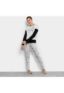 Pijama Censato Longo Bacon Feminino - Feminino-Cinza+Preto