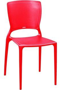 Cadeira Tramontina Sofia Encosto Fechado Vermelho/Caramelo