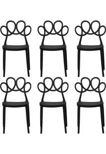 Kit 06 Cadeiras Decorativas Para Cozinha Laço Preto - Gran Belo - Tricae