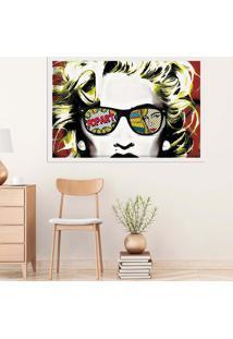 Quadro Love Decor Com Moldura Madonna Em Pop Art Branco Grande