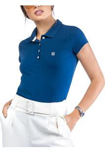 Camisa Polo Cotton Bordado Oui.La.Vie Azul - Azul - Feminino - Dafiti
