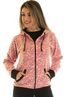 Jaqueta De Moletom Konciny Estampada 85014 Rosa