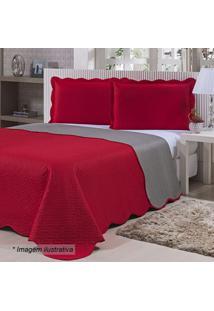 Colcha Ultrassã´Nica Doppio Queen Size- Vermelha & Cinza