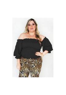 Blusa Cigana De Lastex Plus Size Modaliss