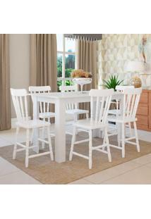 Conjunto De Mesa Com 6 Cadeiras Dalas Branco