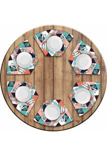 Jogo Americano Love Decor Para Mesa Redonda Wevans Flamant Abstract Kit Com 6 Pçs